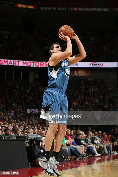 Nemanja Bjelica of the Minnesota Timberwolves shoots against the Milwaukee Bucks on October 20 2015 at the Kohl Center in Madison Wisconsin NOTE TO...
