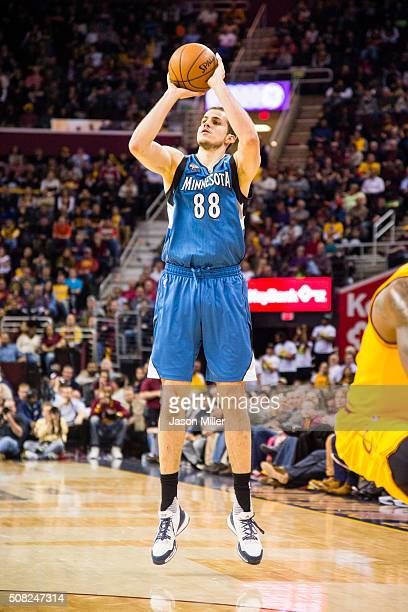 Nemanja Bjelica of the Minnesota Timberwolves shoots during the second half against the Cleveland Cavaliers at Quicken Loans Arena on January 25 2016...