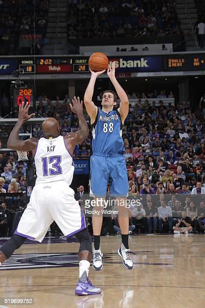 Nemanja Bjelica of the Minnesota Timberwolves shoots the ball against the Sacramento Kings on April 7 2016 at Sleep Train Arena in Sacramento...