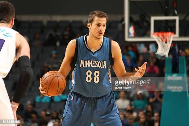 Nemanja Bjelica of the Minnesota Timberwolves shoots the ball against the Charlotte Hornets during a preseason game on October 10 2016 at the...