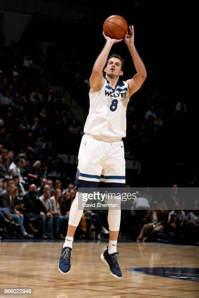 Nemanja Bjelica of the Minnesota Timberwolves shoots the ball against the Indiana Pacers on October 24 2017 at Target Center in Minneapolis Minnesota...