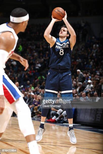 Nemanja Bjelica of the Minnesota Timberwolves shoots the ball against the Detroit Pistons on November 19 2017 at Target Center in Minneapolis...