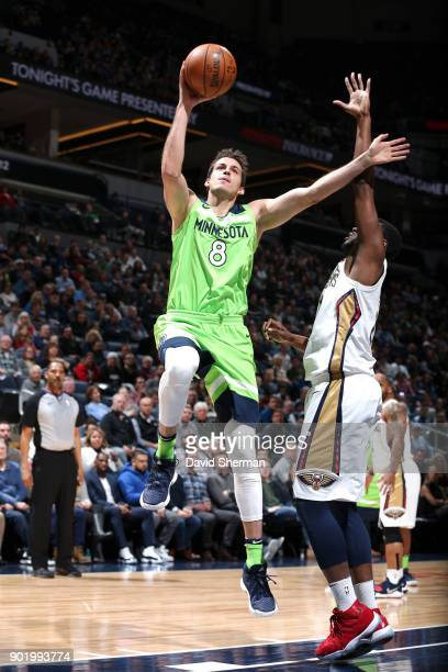 Nemanja Bjelica of the Minnesota Timberwolves shoots the ball against the New Orleans Pelicans on January 6 2018 at Target Center in Minneapolis...