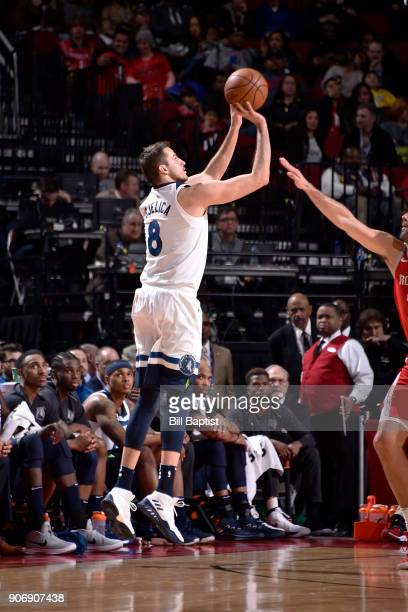 Nemanja Bjelica of the Minnesota Timberwolves shoots the ball against the Houston Rockets on January 18 2018 at the Toyota Center in Houston Texas...