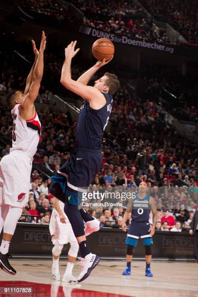 Nemanja Bjelica of the Minnesota Timberwolves shoots the ball against the Portland Trail Blazers on January 24 2018 at the Moda Center Arena in...