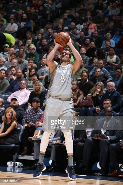 Nemanja Bjelica of the Minnesota Timberwolves shoots the ball against the Milwaukee Bucks on February 1 2018 at Target Center in Minneapolis...