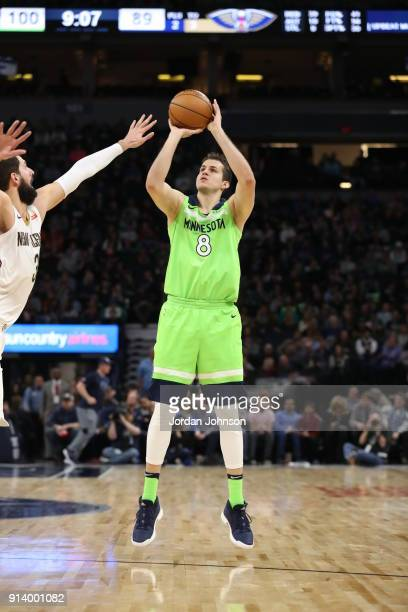 Nemanja Bjelica of the Minnesota Timberwolves shoots the ball against the New Orleans Pelicans on February 3 2018 at Target Center in Minneapolis...