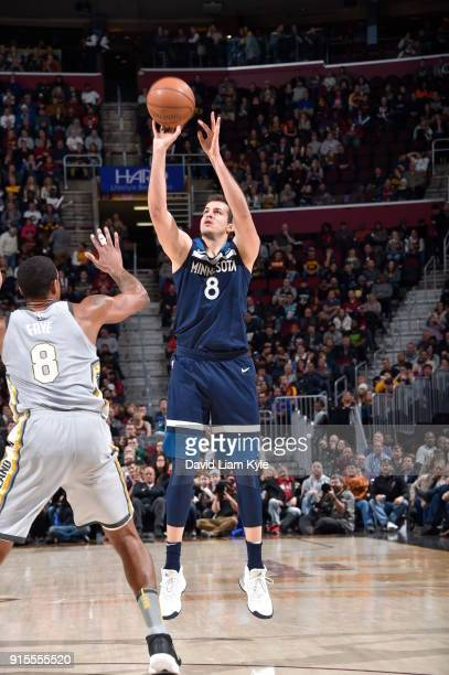 Nemanja Bjelica of the Minnesota Timberwolves shoots the ball against the Cleveland Cavaliers on February 7 2018 at Quicken Loans Arena in Cleveland...