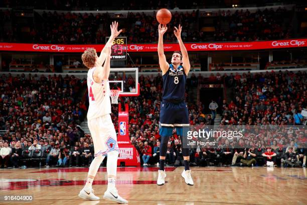Nemanja Bjelica of the Minnesota Timberwolves shoots the ball against the Chicago Bulls on February 9 2018 at the United Center in Chicago Illinois...