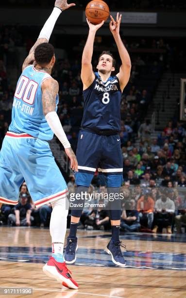 Nemanja Bjelica of the Minnesota Timberwolves shoots the ball against the Sacramento Kings on February 11 2018 at Target Center in Minneapolis...