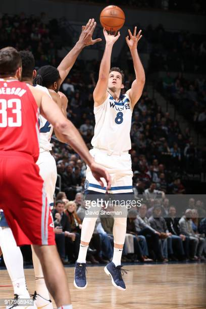 Nemanja Bjelica of the Minnesota Timberwolves shoots the ball against the Houston Rockets on February 13 2018 at Target Center in Minneapolis...