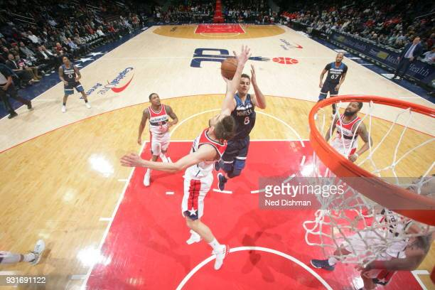 Nemanja Bjelica of the Minnesota Timberwolves shoots the ball against the Washington Wizards on March 13 2018 at Capital One Arena in Washington DC...