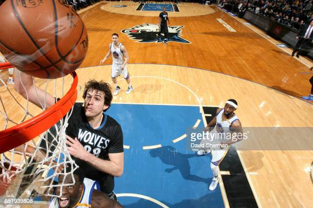Nemanja Bjelica of the Minnesota Timberwolves shoots the ball during the game against the Golden State Warriors on March 10 2017 at Target Center in...