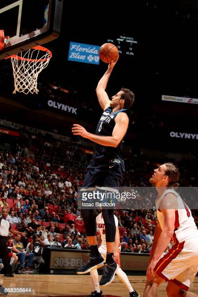 Nemanja Bjelica of the Minnesota Timberwolves shoots the ball during the game against the Miami Heat at the American Airlines Arena on October 30...