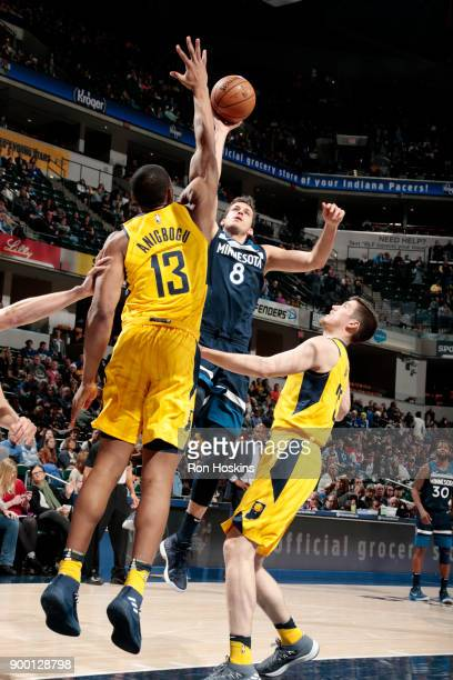 Nemanja Bjelica of the Minnesota Timberwolves shoots the ball during the game against the Indiana Pacers on December 31 2017 at Bankers Life...