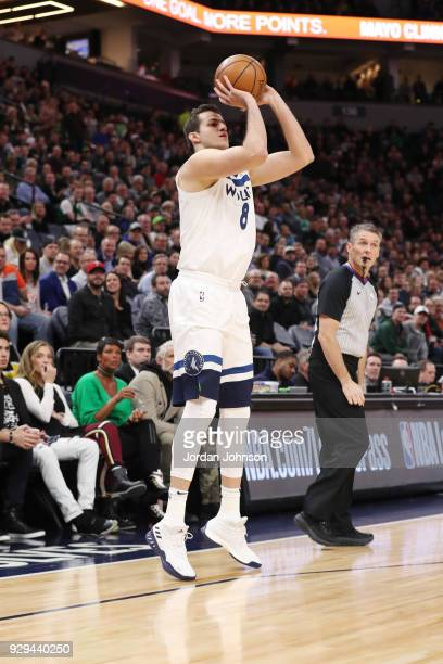 Nemanja Bjelica of the Minnesota Timberwolves shoots the ball during the game against the Boston Celtics on March 8 2018 at Target Center in...