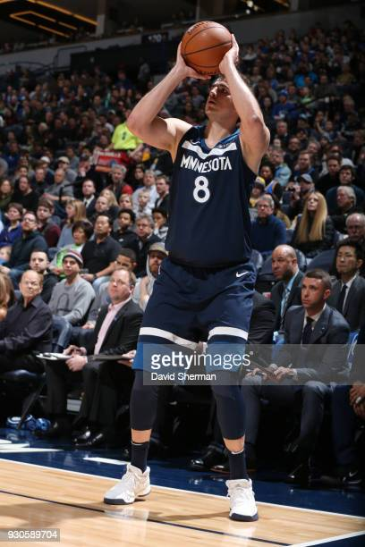 Nemanja Bjelica of the Minnesota Timberwolves shoots the ball during the game against the Golden State Warriors on March 11 2018 at Target Center in...
