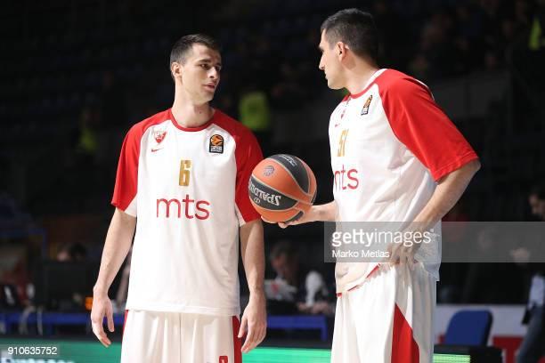 Nemanja Dangubic #6 and Milko Bjelica #51 of Crvena Zvezda mts Belgrade warm up during the 2017/2018 Turkish Airlines EuroLeague Regular Season Round...