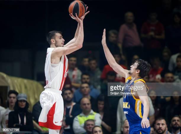 Nemanja Dangubic of Crvena Zvezda in action against Alexey Shved of Khimki during the 2017/2018 Turkish Airlines EuroLeague Regular Season Round 18...