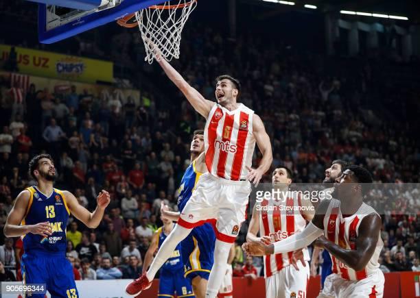 Nemanja Dangubic of Crvena Zvezda in action against Marko Todorovic of Khimki during the 2017/2018 Turkish Airlines EuroLeague Regular Season Round...