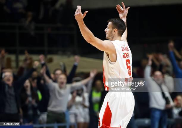 Nemanja Dangubic of Crvena Zvezda reacts during the 2017/2018 Turkish Airlines EuroLeague Regular Season Round 18 game between Crvena Zvezda mts...