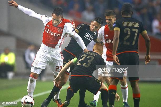 Nemanja Gudelj of Ajax Amsterdam Junior Edmilson of Standard Luik Adrien Trebel of Standard Luik Joel Veltman of Ajax Amsterdam Darwin Andrade of...