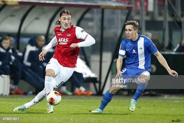 Nemanja Gudelj of AZ Josef Sural of FC Slovan Liberec during the Europa League match between AZ Alkmaar and FC Slovan Liberec at AFAS stadium on...