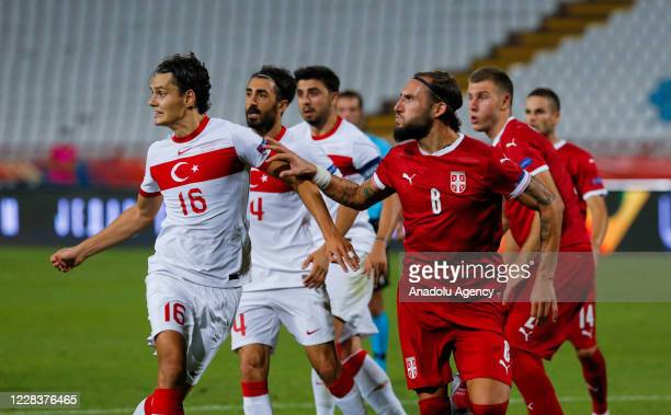 Nemanja Gudelj of Serbia national football team in action against Enes Unal of Turkey national football team during the UEFA Nations League B - Group...