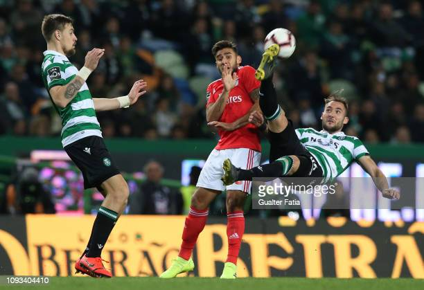 Nemanja Gudelj of Sporting CP with Eduardo Salvio of SL Benfica in action during the Liga NOS match between Sporting CP and SL Benfica at Estadio...
