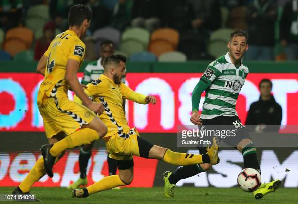 Nemanja Gudelj of Sporting CP with Vitor Goncalves of CD Nacional in action during the Liga NOS match between Sporting CP and CD Nacional at Estadio...