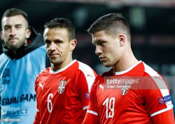Nemanja Maksimovic and Luka Jovic of Serbia look on after the UEFA Nations League C group four match between Serbia and Montenegro at stadium Rajko...