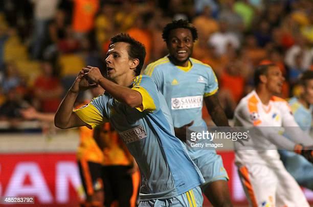 Nemanja Maksimovic of FC Astana celebrates scoring the equalising goal during UEFA Champions League play off between APOEL Nicosia and FC Astana at...