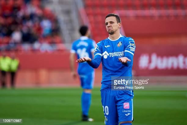 Nemanja Maksimovic of Getafe CF asking for the ball during the Spanish League, La Liga, football match played between RCD Mallorca and Getafe CD at...