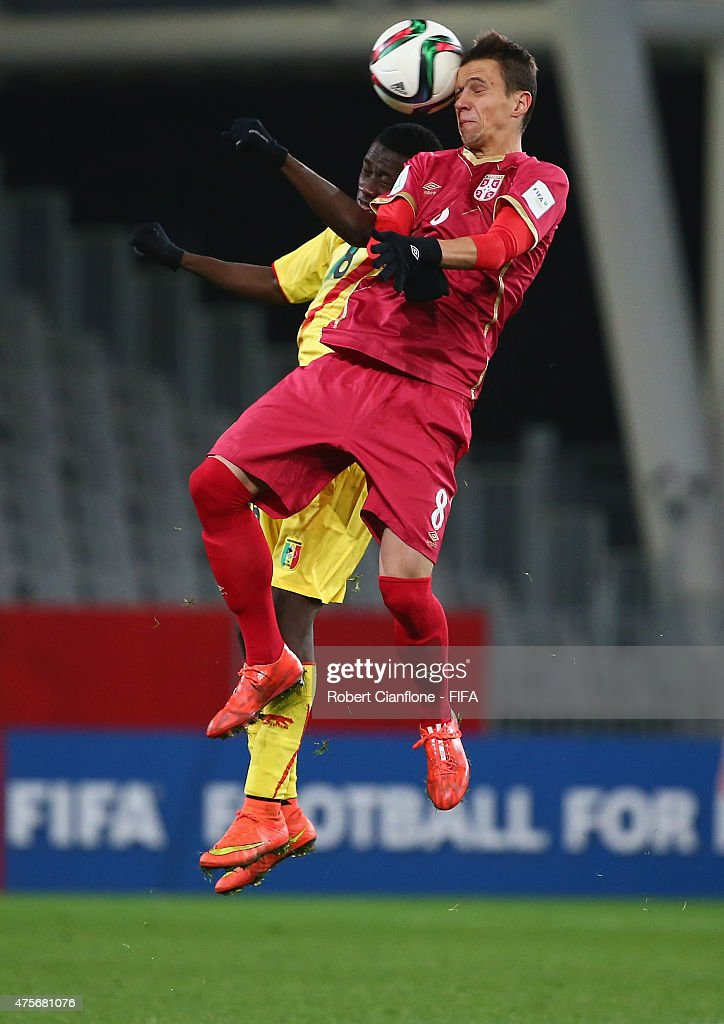 Nemanja Maksimovic of Serbia heads the ball away from Diadie Samassekou of Mali during the FIFA U-20 World Cup New Zealand 2015 Group D match between Serbia and Mali at Otago Stadium on June 3, 2015 in Dunedin, New Zealand.