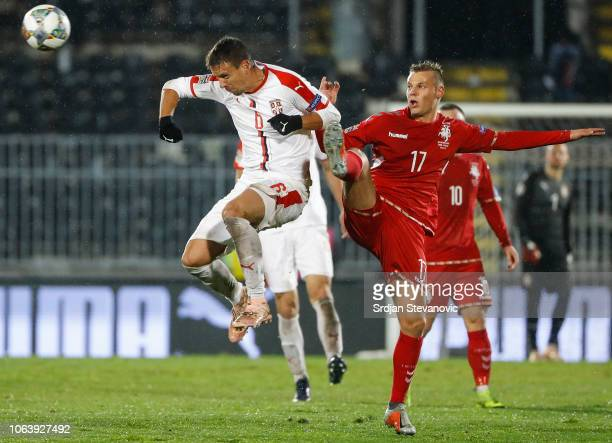6b36eba5792 Nemanja Maksimovic of Serbia in action against Giedrius Matulevicius of  Lithuania during the UEFA Nations League