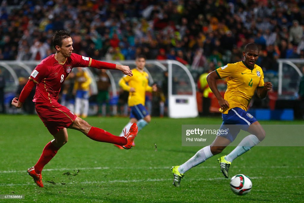 Nemanja Maksimovic of Serbia scores the match winning goal during the FIFA U-20 World Cup Final match between Brazil and Serbia at North Harbour Stadium on June 20, 2015 in Auckland, New Zealand.
