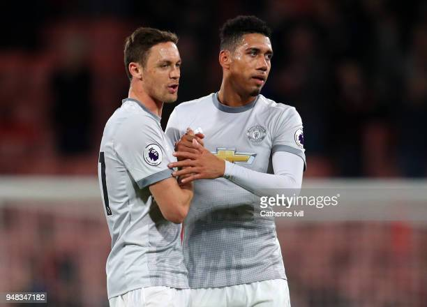Nemanja Matic and Chris Smalling of Manchester United after the Premier League match between AFC Bournemouth and Manchester United at Vitality...