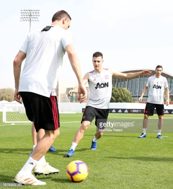 Nemanja Matic and Diogo Dalot of Manchester United in action during a first team training session at Nad Al Sheba Sports Complex on January 8 2019 in...