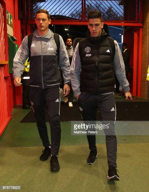 Nemanja Matic and Joel Pereira of Manchester United arrive ahead of the Premier League match between Manchester United and Newcastle United at Old...