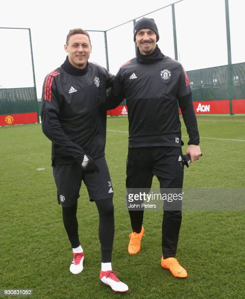 Nemanja Matic and Zlatan Ibrahimovic of Manchester United in action during a first team training session at Aon Training Complex on March 12 2018 in...