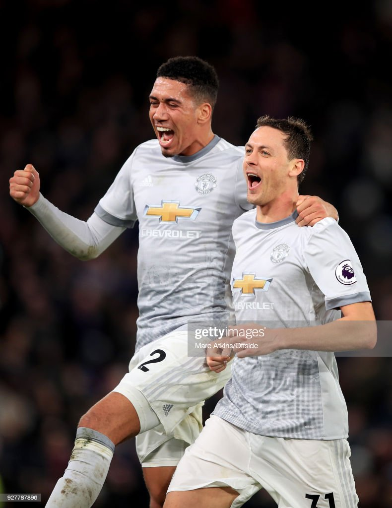 Nemanja Matic celebrates his late winning goal with Chris Smalling during the Premier League match between Crystal Palace and Manchester United at Selhurst Park on March 5, 2018 in London, England.