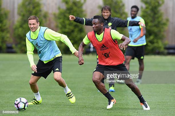 Nemanja Matic John Obi Mikel at Chelsea Training Ground on July 13 2016 in Cobham England