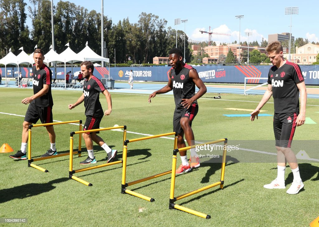 Nemanja Matic, Juan Mata, Tim Fosu-Mensah and Scott McTominay of Manchester United in action during a Manchester United pre-season training session at UCLA on July 23, 2018 in Los Angeles, California.