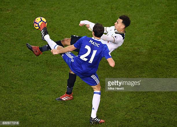 Nemanja Matic of Chelsea and Dele Alli of Tottenham Hotspur battle for possession during the Premier League match between Tottenham Hotspur and...