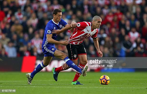 Nemanja Matic of Chelsea and Oriol Romeu of Southampton during the Premier League match between Southampton and Chelsea at St Mary's Stadium on...