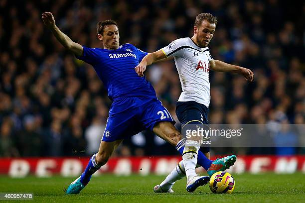 Nemanja Matic of Chelsea battles for the ball with Harry Kane of Spurs during the Barclays Premier League match between Tottenham Hotspur and Chelsea...
