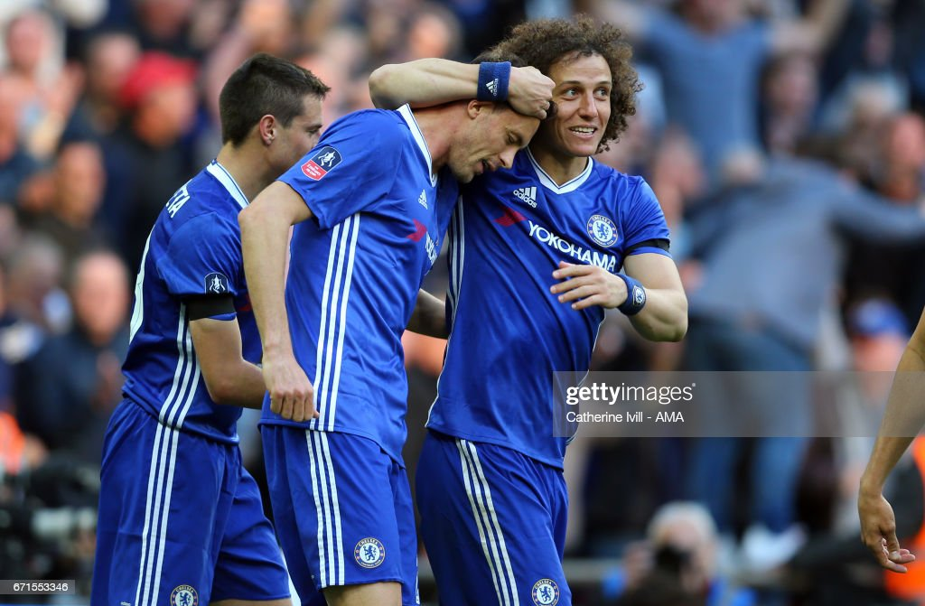 Nemanja Matic of Chelsea celebrates after he scores to make it 4-2 with David Luiz of Chelsea during the Emirates FA Cup semi-final match between Tottenham Hotspur and Chelsea at Wembley Stadium on April 22, 2017 in London, England.