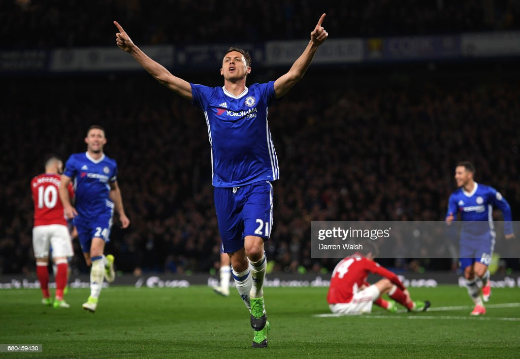 Nemanja Matic of Chelsea celebrates after scoring his his team's third goal during the Premier League match between Chelsea and Middlesbrough at Stamford Bridge on May 8, 2017 in London, England.