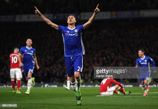 Nemanja Matic of Chelsea celebrates after scoring his his team's third goal during the Premier League match between Chelsea and Middlesbrough at...