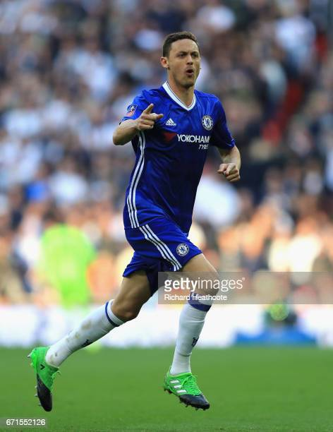 Nemanja Matic of Chelsea celebrates scoring his sides fourth goal during The Emirates FA Cup SemiFinal between Chelsea and Tottenham Hotspur at...